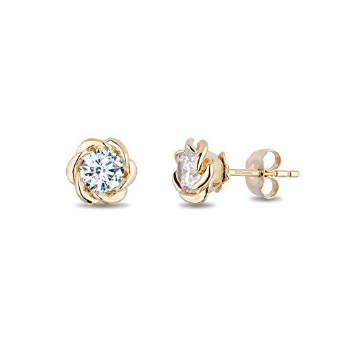 Enchanted Disney Fine Jewelry 14K Yellow Gold with 1/3cttw Diamond Belle Solitaire Earrings