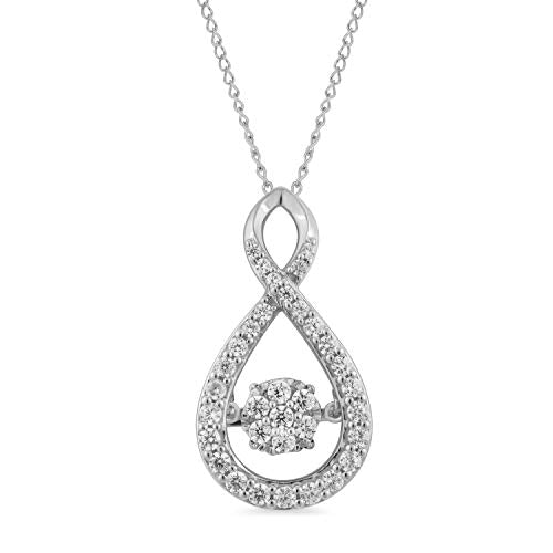 Jewelili Sterling Sliver With 1/2CTTW Diamond Pendant