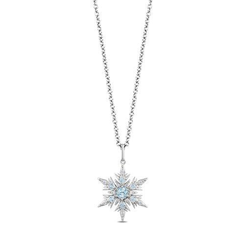 Enchanted Disney Fine Jewelry Sterling Silver with 1/10 Cttw Diamond and Swiss Blue Topaz Elsa Pendant