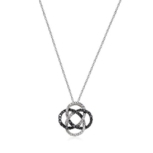 Jewelili Sterling Silver Black And White Diamond 1/3 Cttw Knot Pendant Necklace