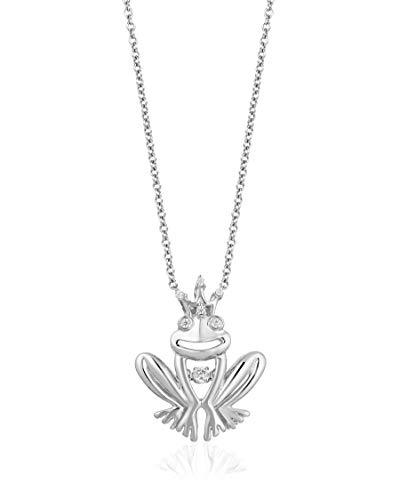 Enchanted Disney Fine Jewelry Sterling Silver 1/20cttw Tiana Frog Pendant