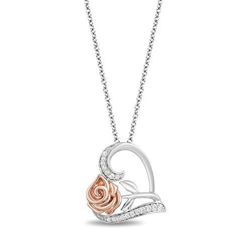 Enchanted Disney Fine Jewelry 14K Rose Gold over Sterling Silver 1/10 Cttw Belle Rose Pendant