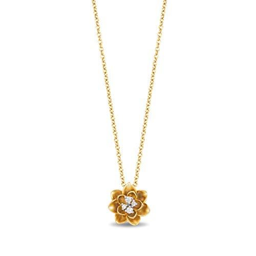Enchanted Disney Fine Jewelry 10K Yellow Gold Diamond Accent Tiana Water Lily Pendant