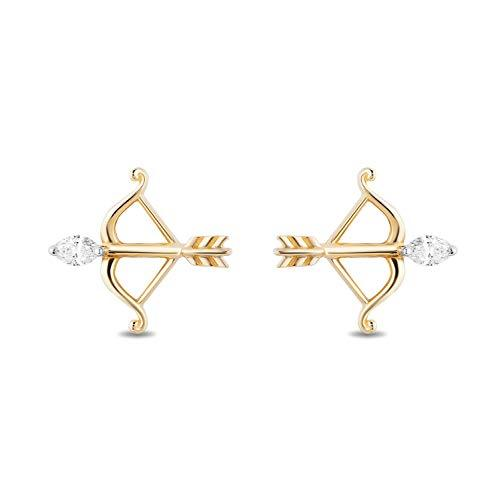 Enchanted Disney Fine Jewelry 14k Yellow Gold 1/10cttw Merida Bow and Arrow Earrings