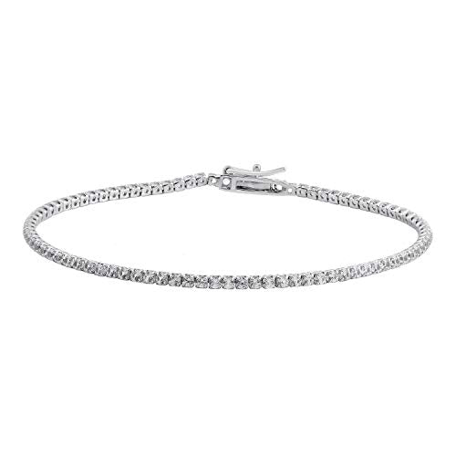 Jewelili Sterling Silver White Cubic Zirconia Fashion Bracelet, 7.5 Inch