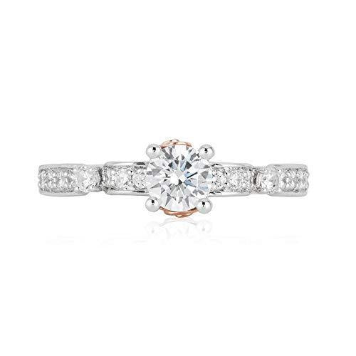 Enchanted Disney Fine Jewelry 14K White Gold, Rose Gold 3/4 CTTW Belle Bridal Ring