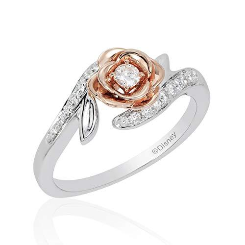 Enchanted Disney Fine Jewelry 14K White And Rose Gold with 1/4Cttw Belle Rose Fashion Ring