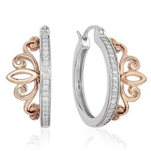 Enchanted Disney Fine Jewelry Sterling Silver and 10K Rose Gold 1/5CTTW Majestic Princess Tiara Earrings
