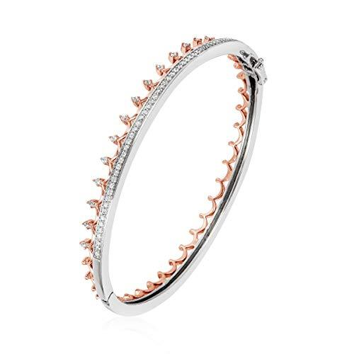 Enchanted Disney Fine Jewelry 14K Rose Gold over Sterling Silver with 1/2cttw Majestic Princess Bangle