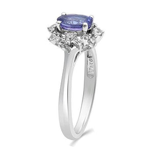 Jewelili Sterling Silver Tanzanite Oval with Created White Sapphire Cluster Ring Size, 7