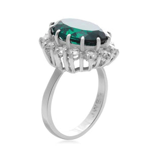 Jewelili Sterling Silver 14x10 mm Oval Created Emerald and Round Created White Sapphire Flower Ring, Size 7