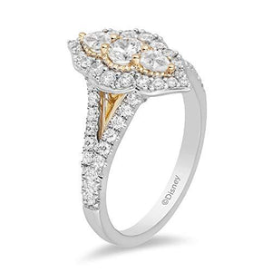 Enchanted Disney Fine Jewelry 14K White and Yellow Gold With 1.00 cttw Diamond Jasmine Engagement Ring