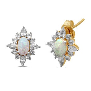 Jewelili 14kt Yellow Gold Plated Sterling Silver Gemstone Blooming Earrings