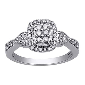 Jewelili Sterling Silver with and without Rose Gold Plated 1/3cttw Natural White Diamond Ring