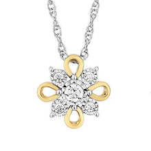 Load image into Gallery viewer, Jewelili 10K White Gold and Yellow Gold with 1/10 Cttw Diamond Pendent