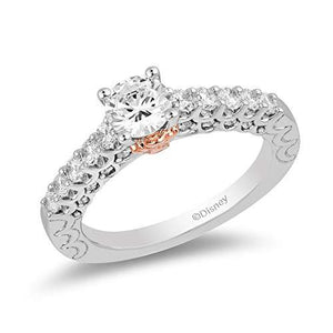 Enchanted Disney Fine Jewelry 14K White Gold and Rose Gold 1.25 cttw Diamond Ariel Ring