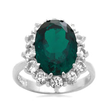 Load image into Gallery viewer, Jewelili Sterling Silver 14x10 mm Oval Created Emerald and Round Created White Sapphire Flower Ring, Size 7