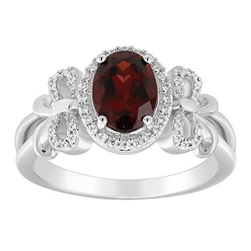 Enchanted Disney Fine Jewelry Sterling Silver with 1/6Cttw Diamond and Red Garnet Snow White Bow Ring