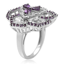 Load image into Gallery viewer, Jewelili Sterling Silver Pear And Round Amethyst And Diamond Flower Ring, Size 7
