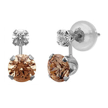 Load image into Gallery viewer, Jewelili 10KT White Gold White And Champagne Swarovski Zirconia Drop Stud Earrings