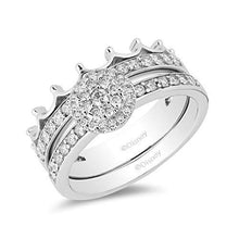 Load image into Gallery viewer, Enchanted Disney Fine Jewelry 14k White Gold 1/2cttw Majestic Princess Crown Bridal Set