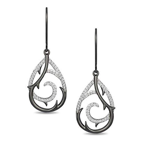 Enchanted Disney Fine Jewelry Sterling Silver with 1/5cttw Diamonds Maleficent Earrings.