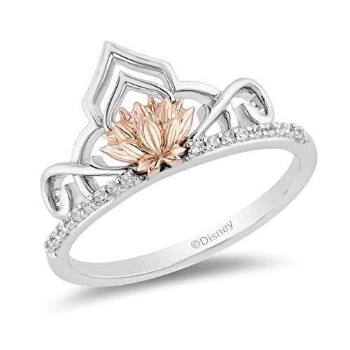 Enchanted Disney Fine Jewelry 14K Rose Gold over Sterling Silver with 1/10ctw Jasmine Lotus Ring