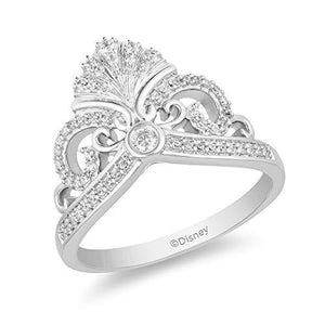 Enchanted Disney Fine Jewelry Sterling Silver 1/5Cttw Ariel Shell Tiara Ring
