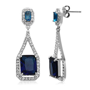 Jewelili Sterling Silver Octagon Simulated Blue Sapphire and Clear Crystal Long Dangle earrings