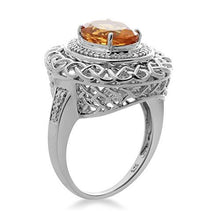 Load image into Gallery viewer, Jewelili Sterling Silver 10x8mm Oval Citrine and 1/10cttw Diamond Halo Ring, Size 7