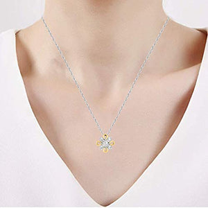 Jewelili 10K White Gold and Yellow Gold with 1/10 Cttw Diamond Pendent
