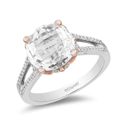 Enchanted Disney Fine Jewelry 10K White And Rose Gold with 1/5Cttw Diamond and White Topaz Majestic Princess Ring