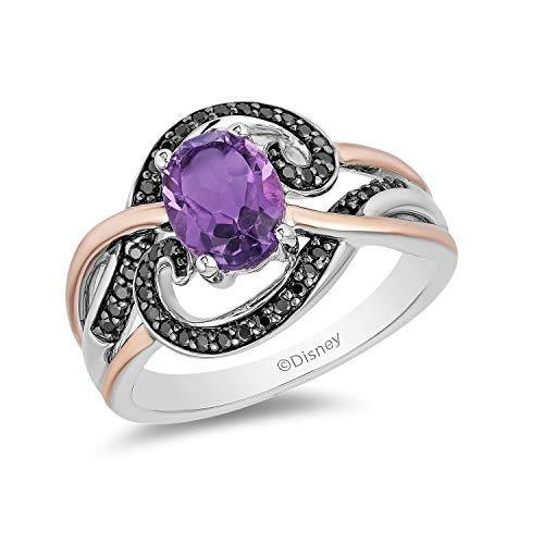 Enchanted Disney Fine Jewelry 14K Rose Gold over Sterling Silver  Black Rhodium with 1/5cttw Diamond and Amethyst Ursula Ring