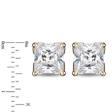 Load image into Gallery viewer, Enchanted Disney Fine Jewelry 14K Yellow Gold with 1 1/2 cttw Princess Cut Diamond Majestic Princess Solitaire Earrings