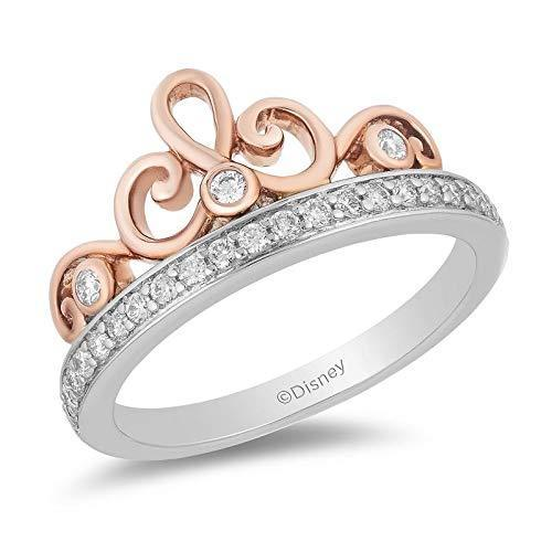 Enchanted Disney Fine Jewelry 10K White and Rose Gold with 1/4CTTW Majestic Princess Tiara Ring