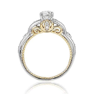 Enchanted Disney Fine Jewelry 14k White and Yellow Gold 1.00cttw Cinderella Carriage Bridal Ring