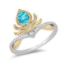 Load image into Gallery viewer, Enchanted Disney Fine Jewelry Sterling Silver and 10K Yellow Gold 1/10Cttw And Swiss Blue Topaz Aladdin Line Action Ring
