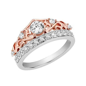 Enchanted Disney Fine Jewelry 14K White Gold and Rose Gold 3/4Cttw Majestic Princess Tiara Bridal Ring