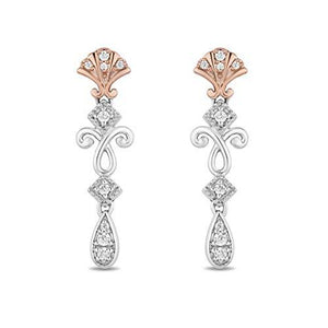 Enchanted Disney Fine Jewelry 14K Rose Gold over Sterling Silver 1/6 Cttw Ariel Shell Earrings