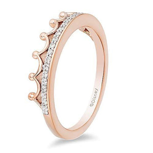Enchanted Disney Fine Jewelry 10K Rose Gold 1/10Ctw Diamond Majestic Princess Tiara Ring