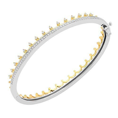 Enchanted Disney Fine Jewelry 14K Yellow Gold over Sterling Silver with 1/2 cttw Majestic Princess Crown Bangle