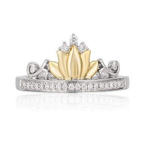 Enchanted Disney Fine Jewelry Sterling Silver and 10kt Yellow Gold 1/10cttw Tiana Water Lily Tiara Ring.