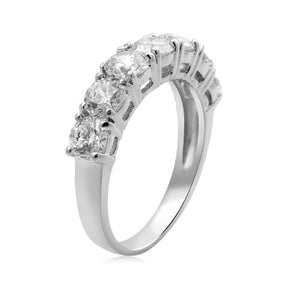 STERLING SILVER ROUND 7 STONE MADE WITH SWAROVSKI ZIRCONIA 2CTTW RING, Size 7