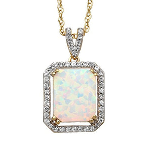 "Jewelili 14kt Yellow Gold Plated Sterling Silver 10x8mm Octagon Created Opal and Round Created White Sapphire Halo Pendant Necklace, 18"" Rolo Chain"