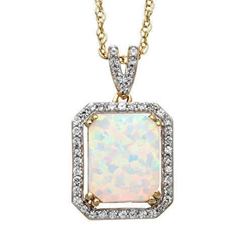 Jewelili 14kt Yellow Gold Plated Sterling Silver 10x8mm Octagon Created Opal and Round Created White Sapphire Halo Pendant Necklace, 18