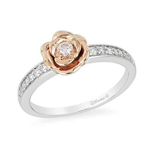 Enchanted Disney Fine Jewelry Sterling Silver and 10K Rose Gold 1/5Cttw Belle Rose Ring