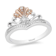 Load image into Gallery viewer, Enchanted Disney Fine Jewelry 14K Rose Gold over Sterling Silver with 1/10cttw Ariel Shell Tiara Ring