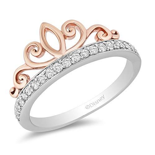 Enchanted Disney Fine Jewelry Sterling Silver and 10k Rose Gold 1/5cttw Majestic Princess Tiara Ring