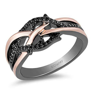 Enchanted Disney Fine Jewelry Sterling Silver and 10k Pink Gold with Black Rhodium 1/5cttw Maleficent Ring