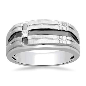 Jewelili Sterling Silver 2.5 millimeter Princess cut Natural White Diamond Accent Princess Gents Ring, Size 7